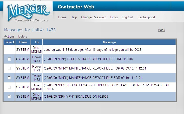 mercer contractor load board